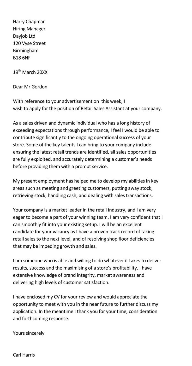 Retail Sales Cover Letter