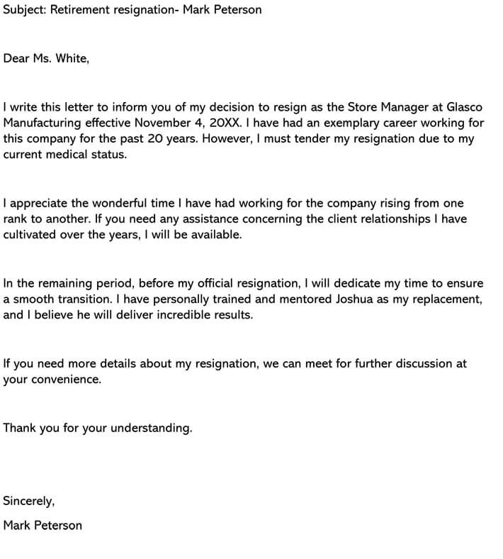 Retirement Letter Of Resignation from www.wordtemplatesonline.net