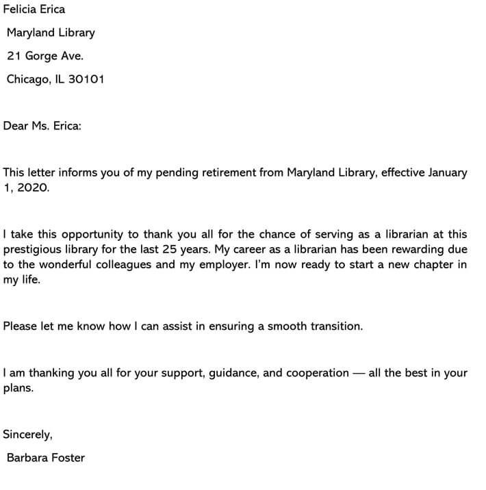 Retirement Letter of Resignation