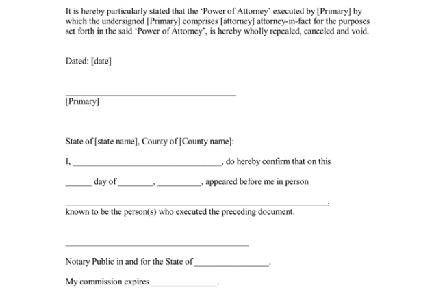 revocation of power of attorney notarized letter