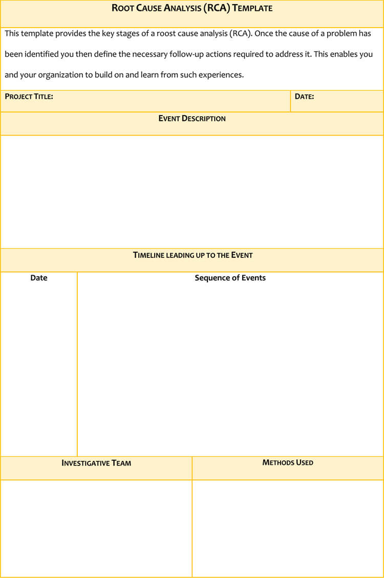 24 Root Cause Analysis Templates Word Excel Powerpoint And Pdf