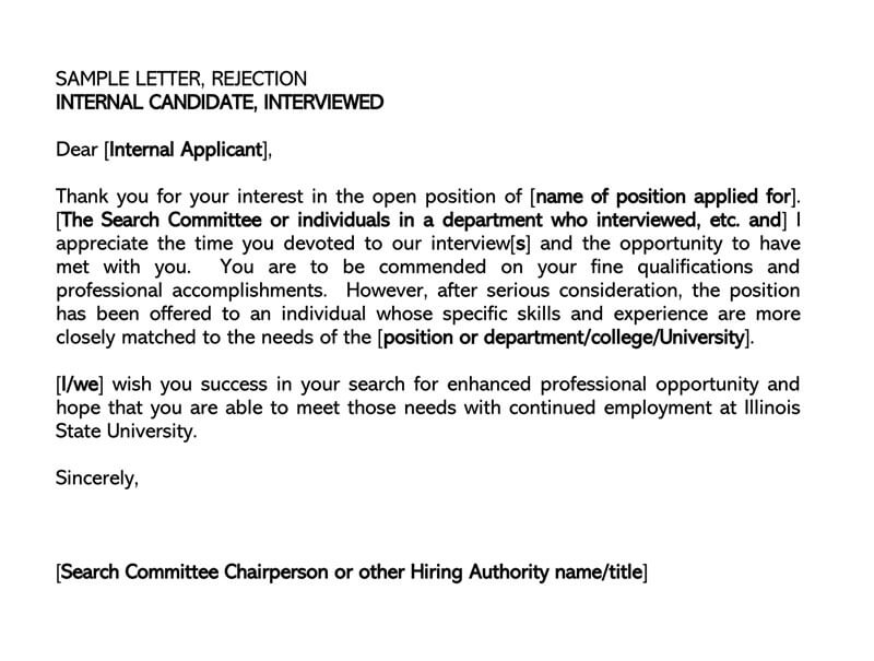 SAMPLE LETTER REJECTION