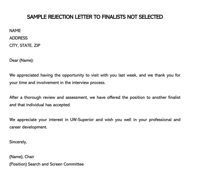 SAMPLE REJECTION LETTER TO FINALISTS NOT SELECTED
