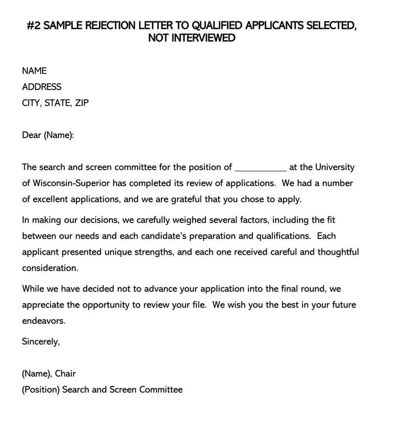 SAMPLE REJECTION LETTER TO QUALIFIED APPLICANTS NOT INTERVIEWED
