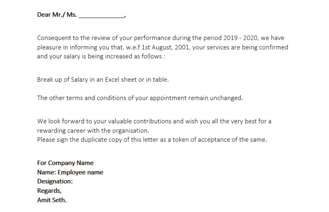Offer Letter Format With Salary Structure