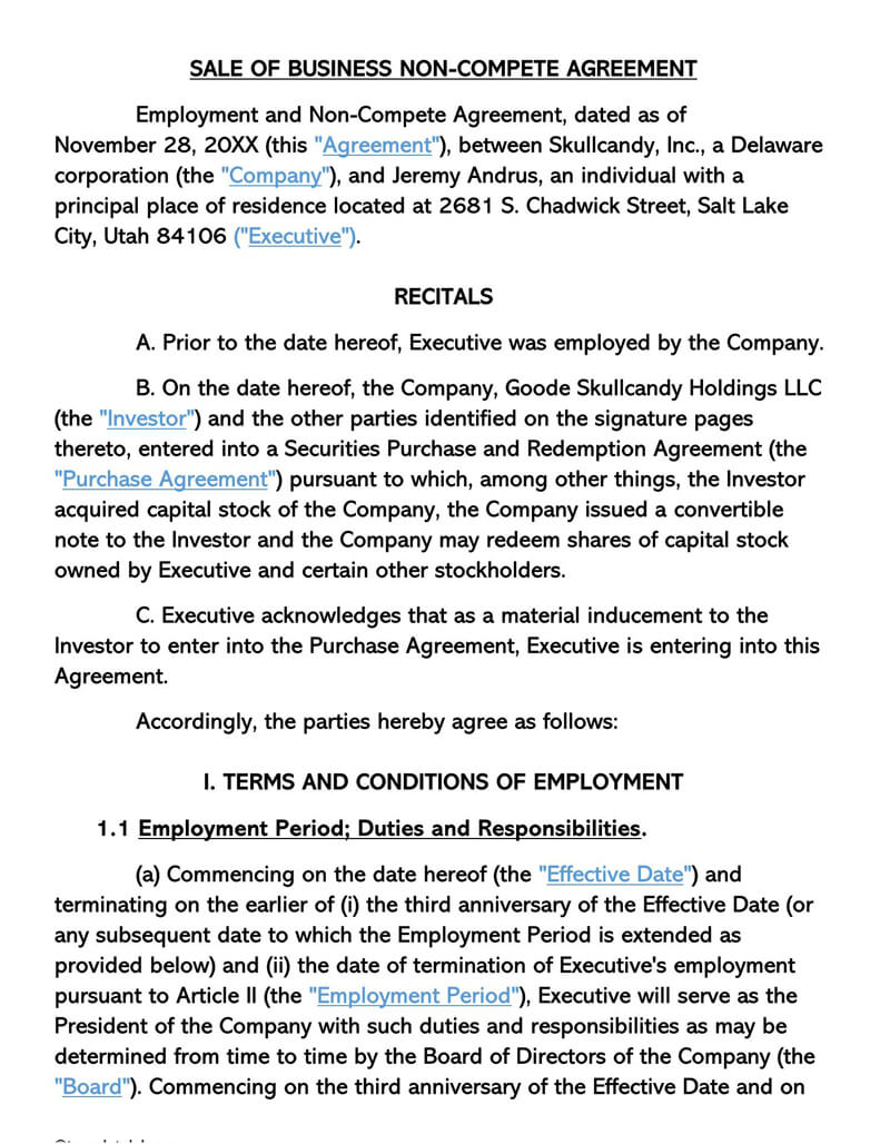 Sale of Business Non-Compete Agreement Template