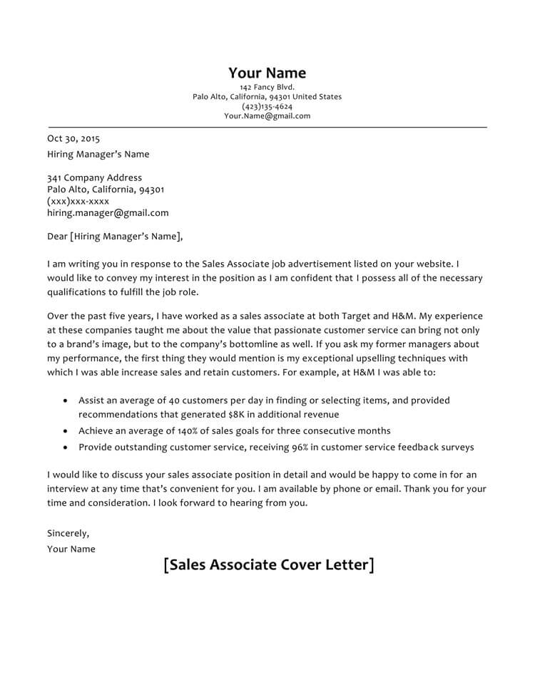 Customer Service Cover Letter Samples Sales Associate Sample