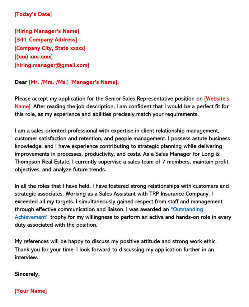 Sales Cover Letter Sample 01