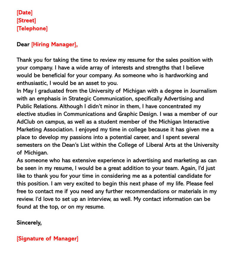 Sales Cover Letter Sample 03