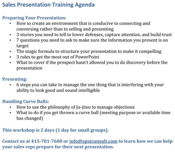 Sales Presentation Agenda example