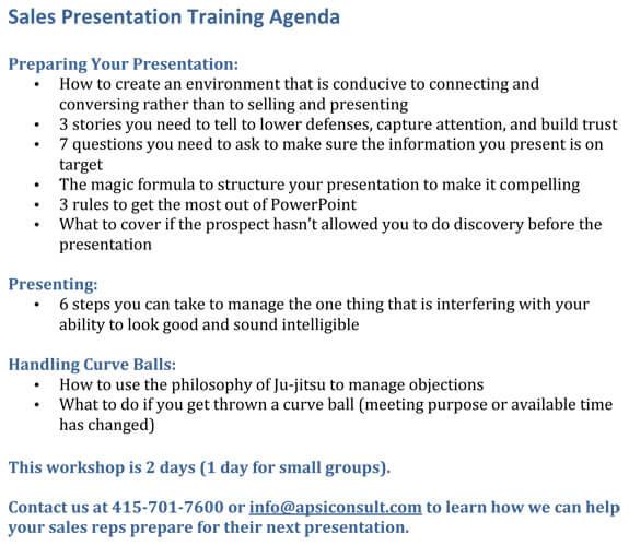 Sales Presentation Agenda example