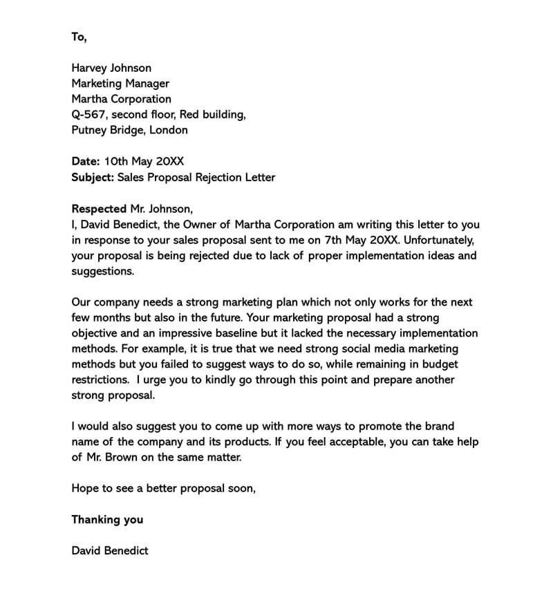 Sales Proposal Rejection Letter Sample