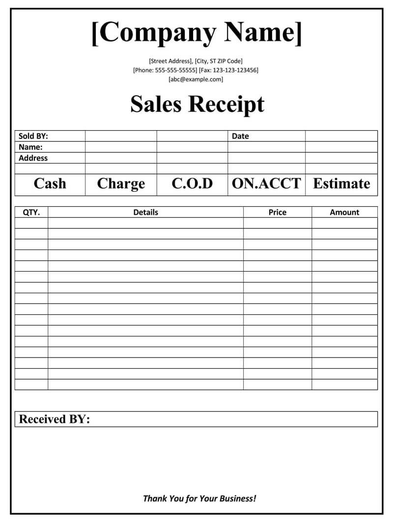 Sales Receipt Template 02