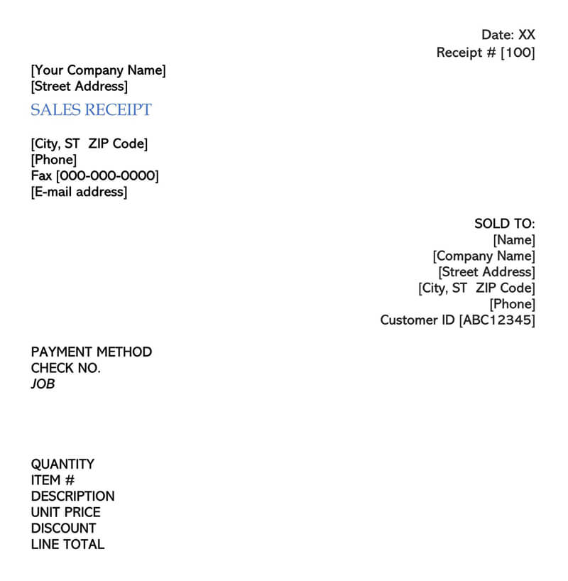 Sales Receipt Template Word