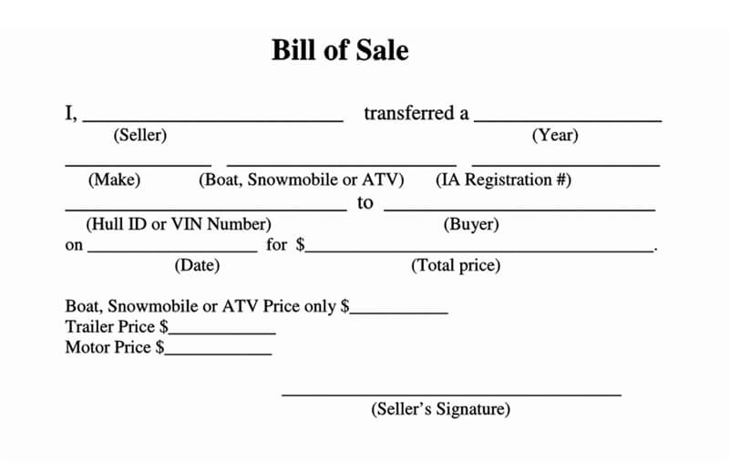Sample ATV Bill of Sale Form 02