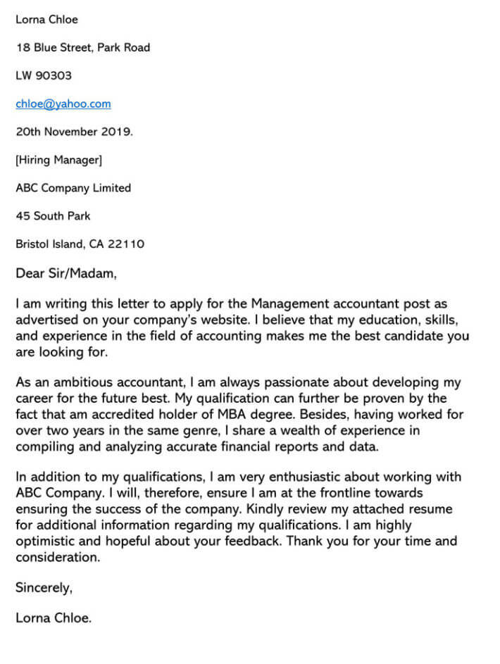 Accounting Cover Letter Sample Letters Amp Email Examples