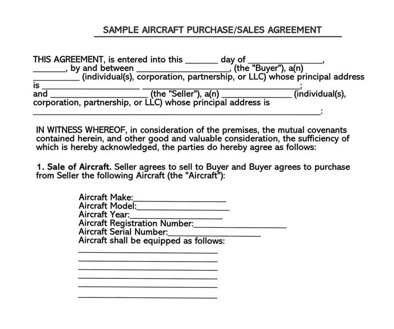 Sample Aircraft Agreement Bill of Sale Form