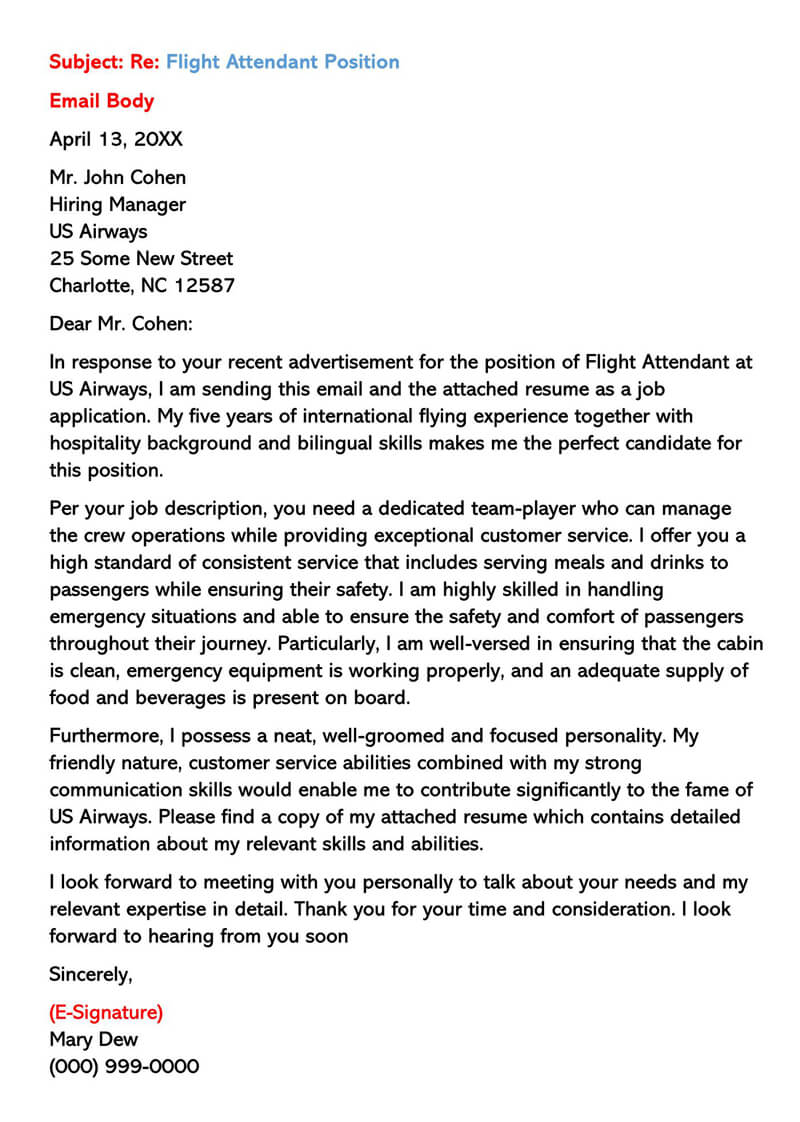Sample Application for Flight Attendant