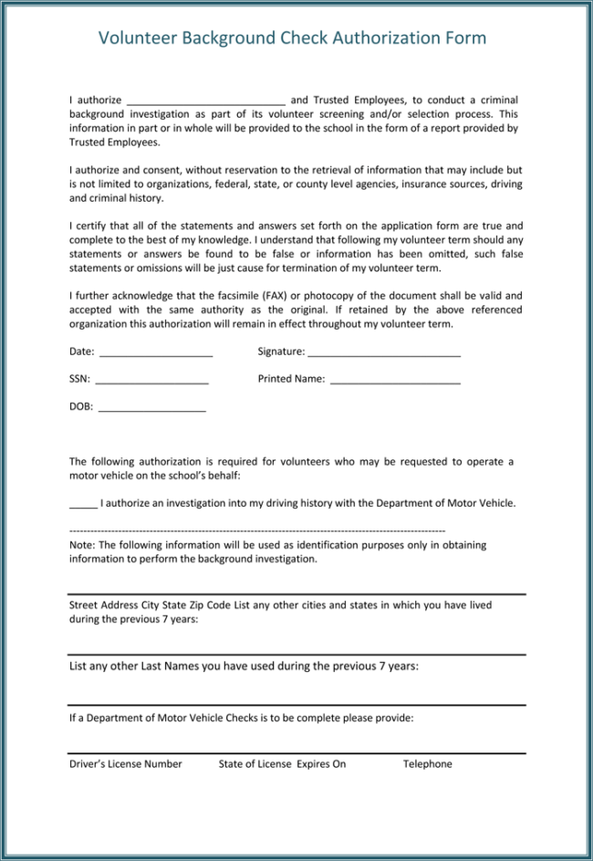 Background check authorization form 5 printable samples for Motor vehicle record check