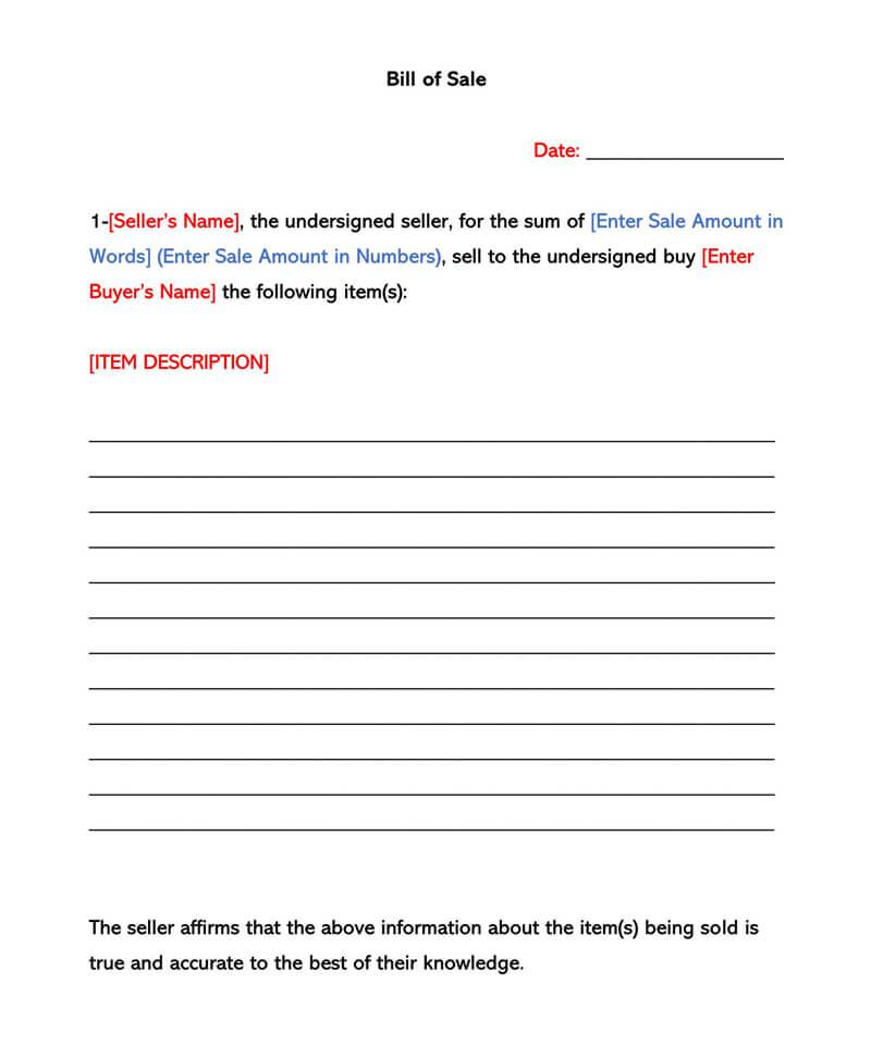 Sample Bill of Sale Form 01