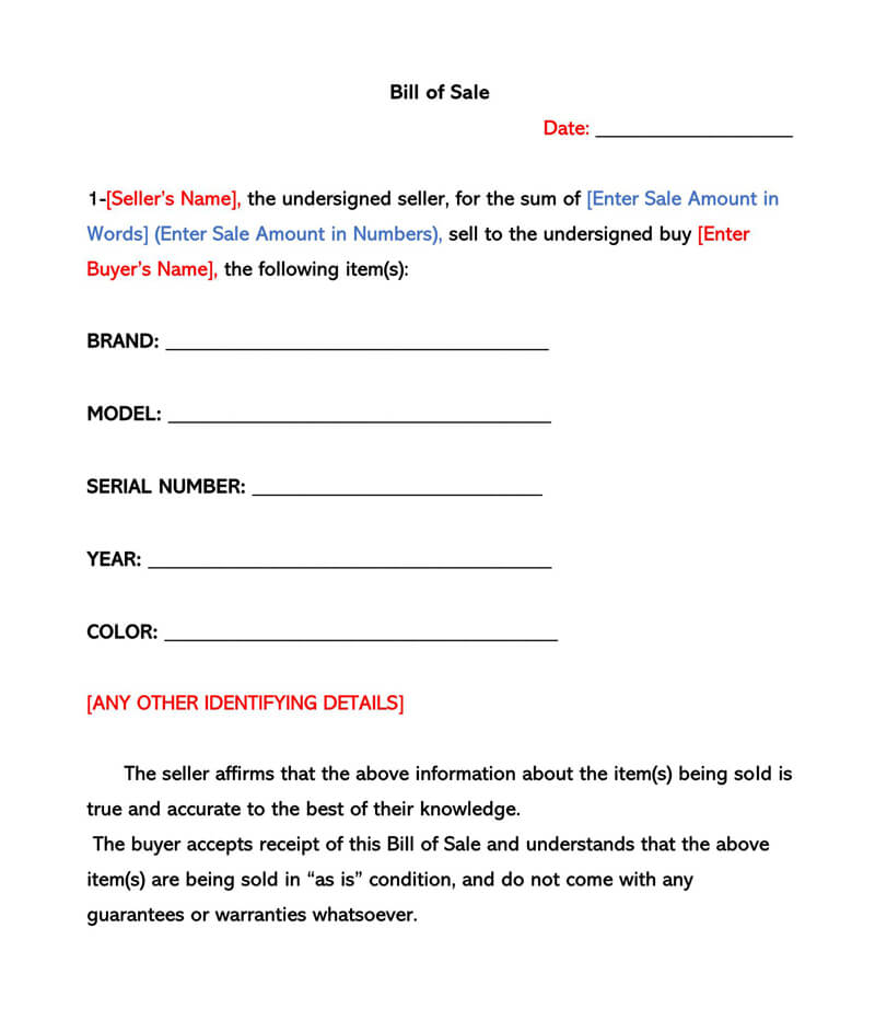 Sample Bill of Sale Form 02