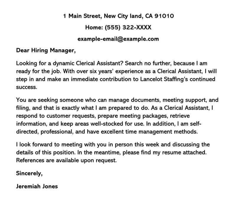 Sample Clerical Cover Letter and Examples (Writing Tips)