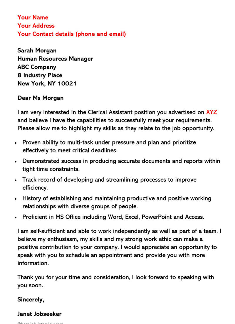 Sample Clerical Cover Letter