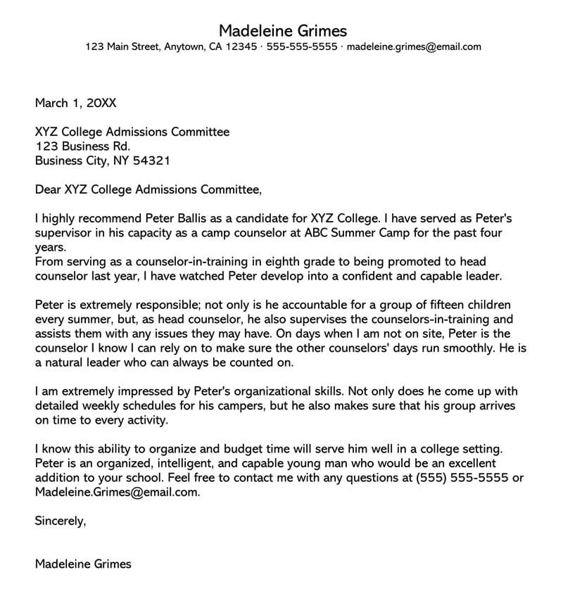 Sample-College-Recommendation-Letter-From-Teacher Teachers Letters Of Reference For College Application Form on