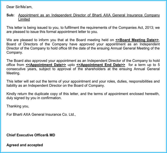 Sample Company Director Appointment Letter