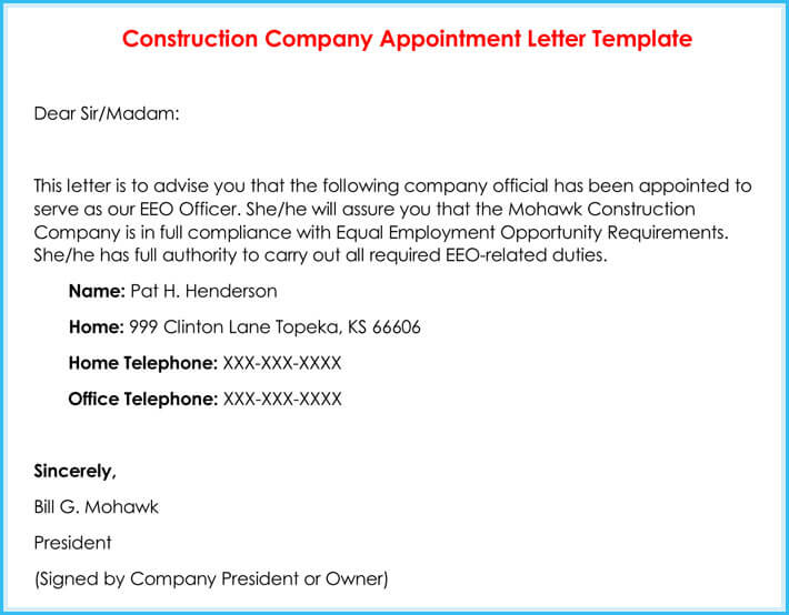 Appointment Letter Template In Doc  Letter Of Appointment