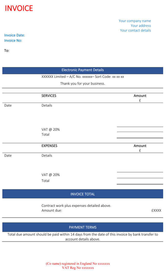 Construction Invoice Template Contractor Invoices - Contractor invoice templates