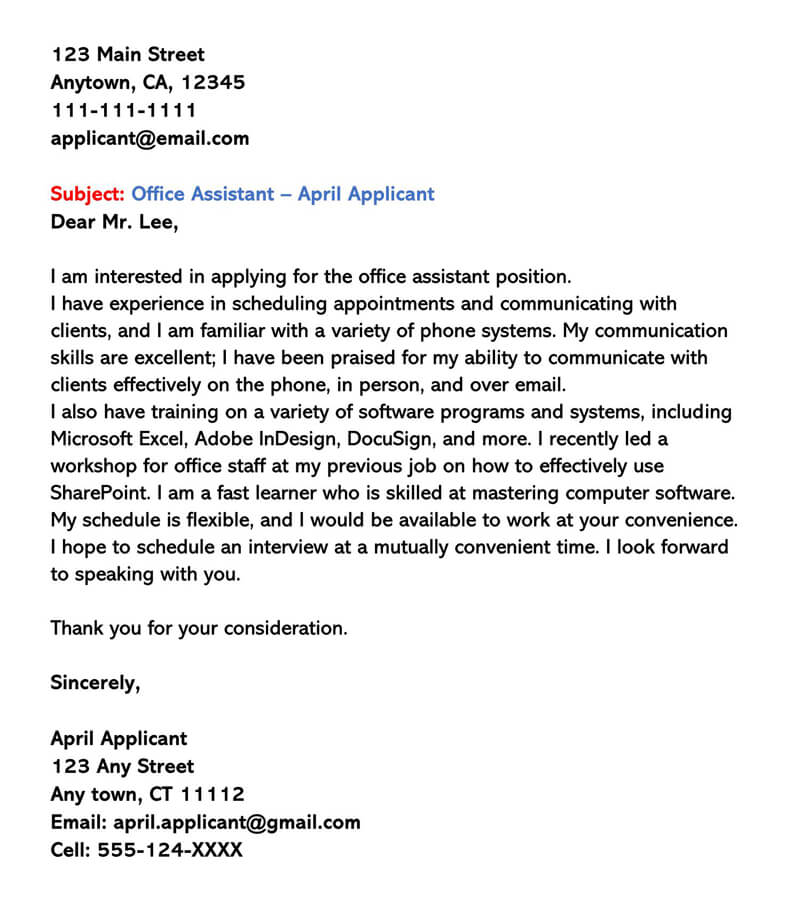 Sample Cover Letter for Part-Time Job