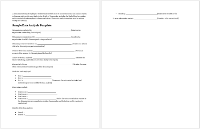 Sample Data Analysis Report Template  Analysis Report Sample