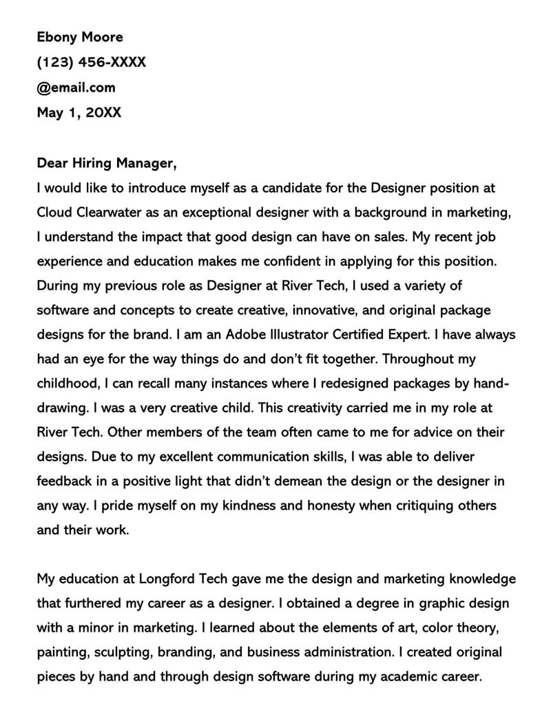 Graphic Designer Cover Letter Sample Letters Examples