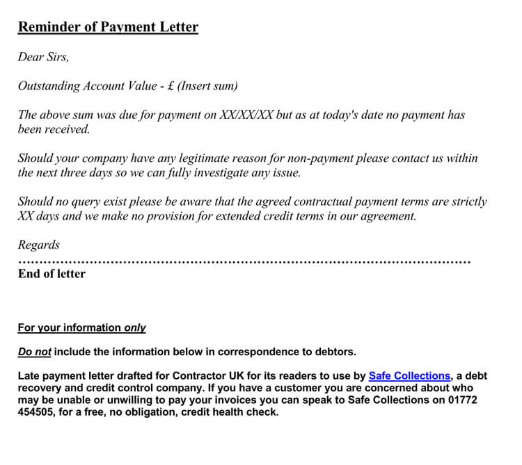 Sample Due Payment Reminder Letter