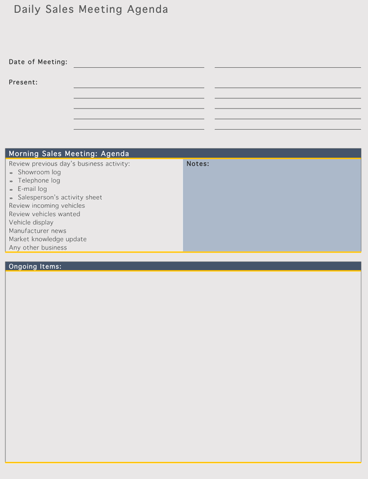 free sales meeting agenda templates  make meetings