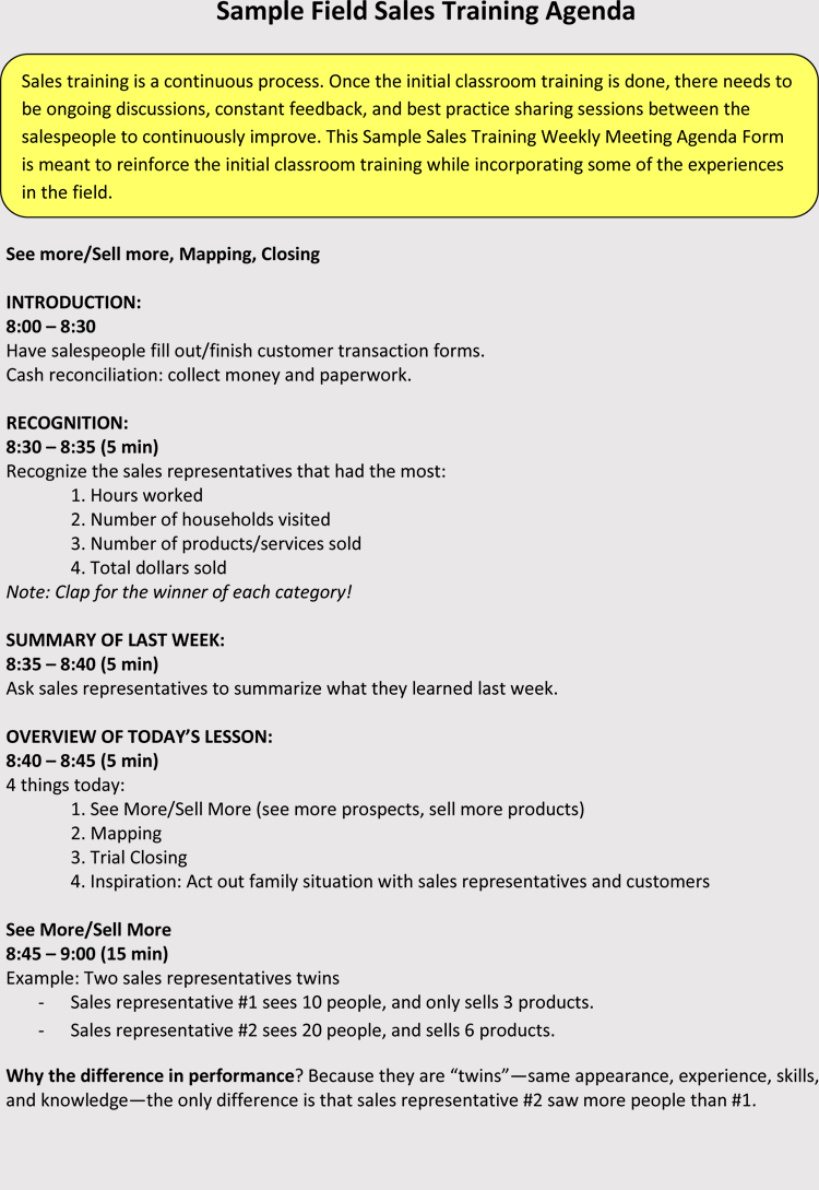 S Training Agenda Example Meeting Examples
