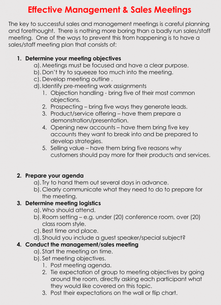 Effective Sales Meeting Agenda Format