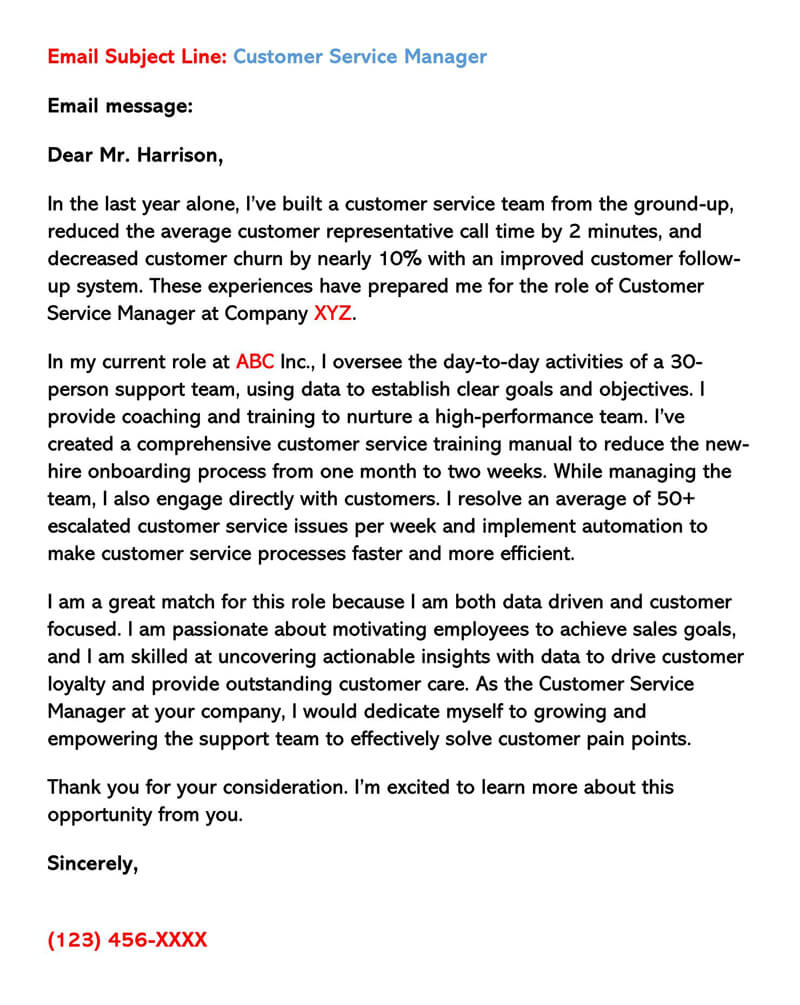 Sample Email Cover Letter for Customer Service Manager