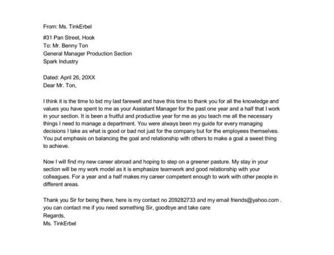 Sample Farewell Letter   Docs For Word And Pdf