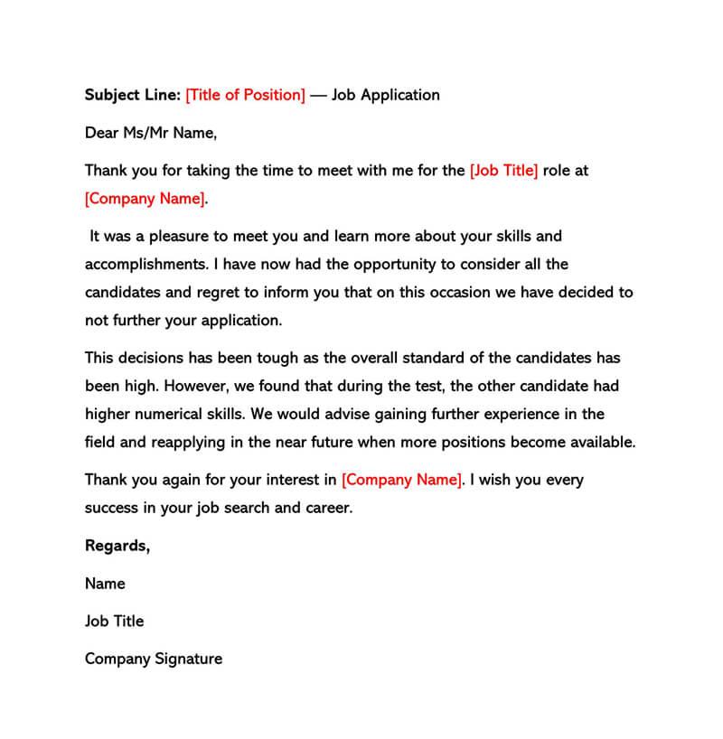 Sample Feedback Letter After Rejection)