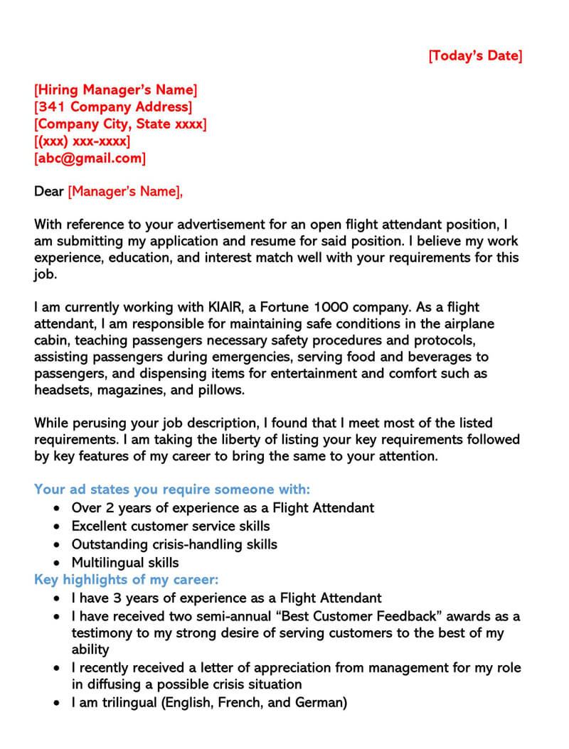 Sample Flight Attendant Cover Letter 01