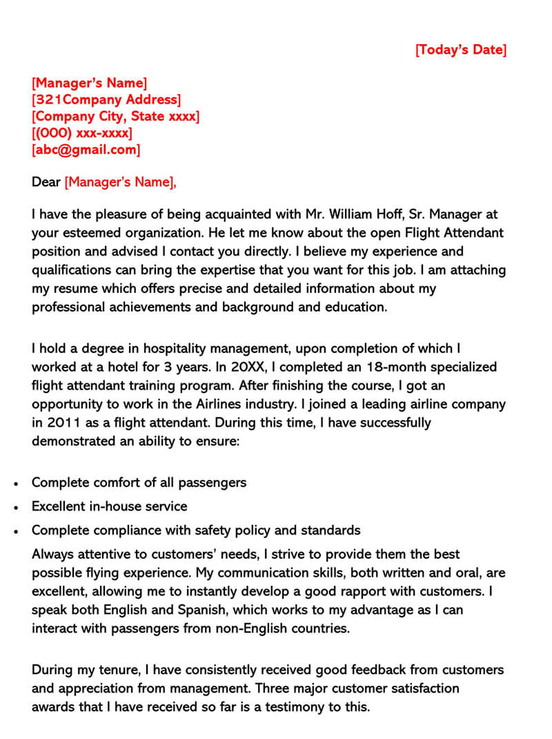 Sample Flight Attendant Cover Letter 02