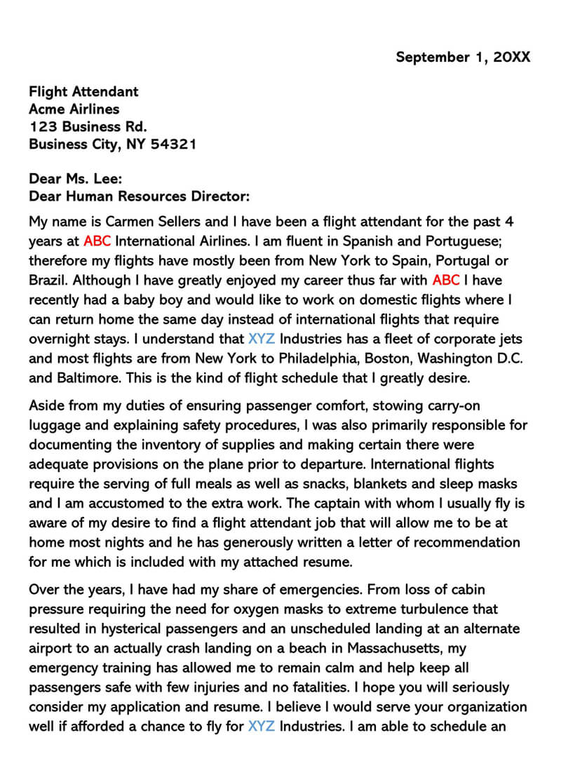 Sample Flight Attendant Cover Letter 03
