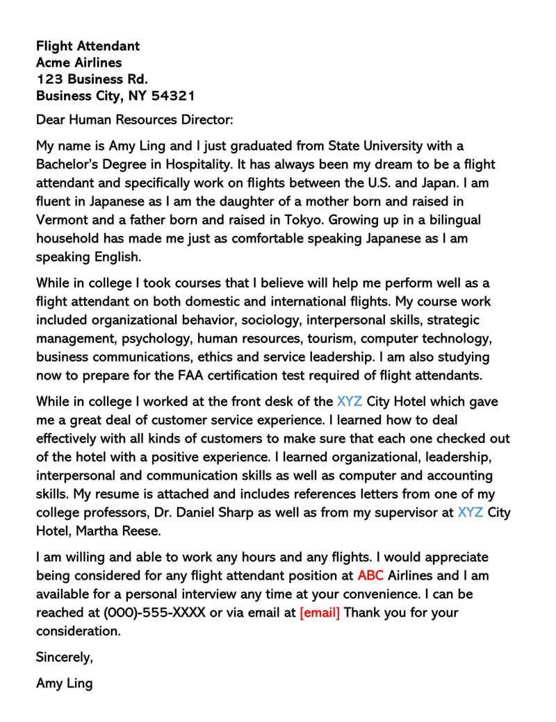Sample Flight Attendant Cover Letter 04