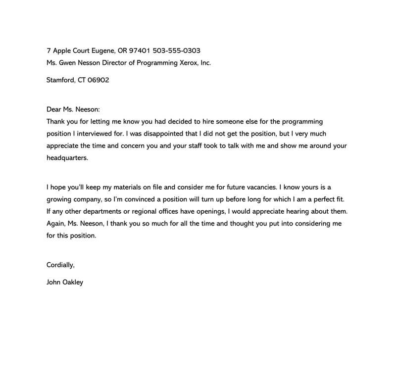 Follow Up Letter After Job Rejection from www.wordtemplatesonline.net