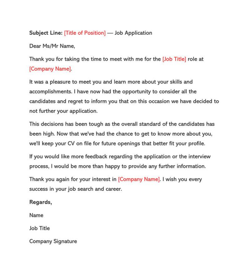 generic job application rejection letter