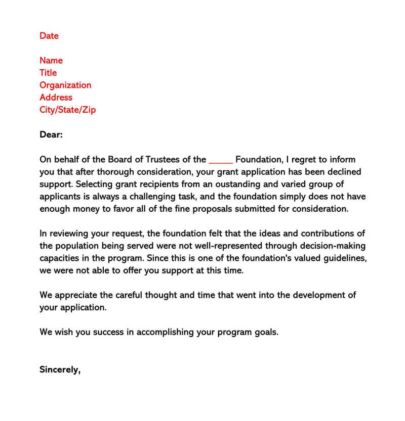 Sample Grant Rejection Letter 01