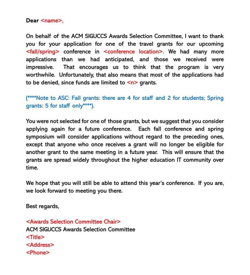 Sample Grant Rejection Letter 05