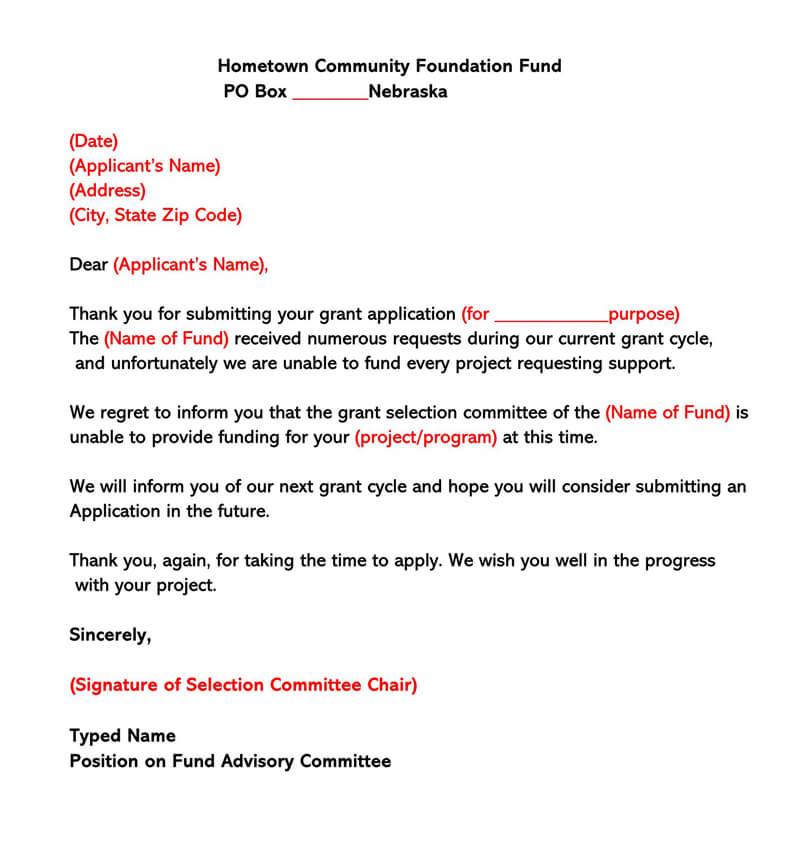 Sample Grant Rejection Letter 06